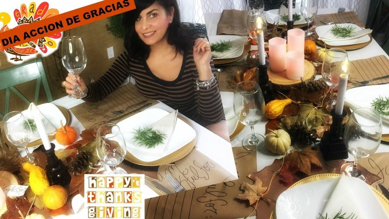 Como Decorar la Mesa en Acción de Gracias   DIY Thanksgiving Dinner Decor