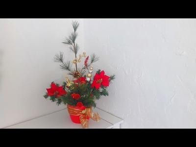 Como decorar una maceta navideña con nochebuenas DIY