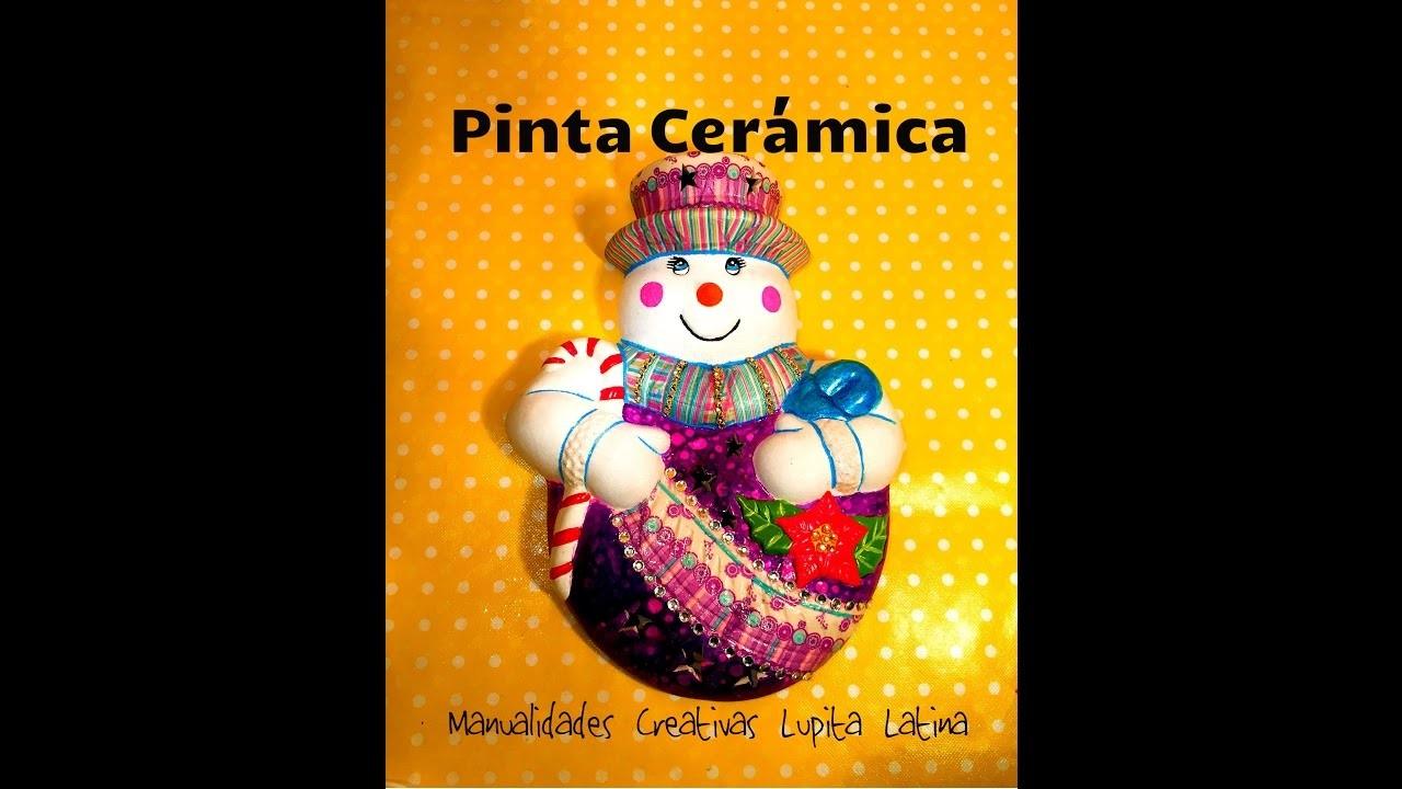 DIY pinta cerámica muñeco navideño servilleta,tintas,terciopelo  Paint christmas ceramics