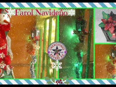 Farol Navideño con cartón reciclado.