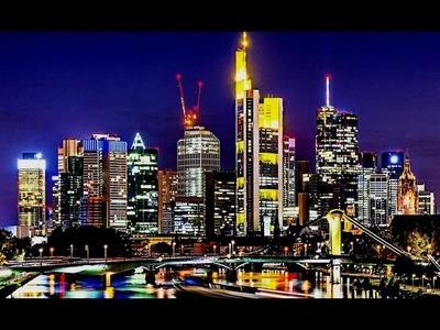 """""""Ciudad de noche"""" Pintar paisaje urbano al oleo y acrilico. Pintar fácil con espatula paso a paso"""