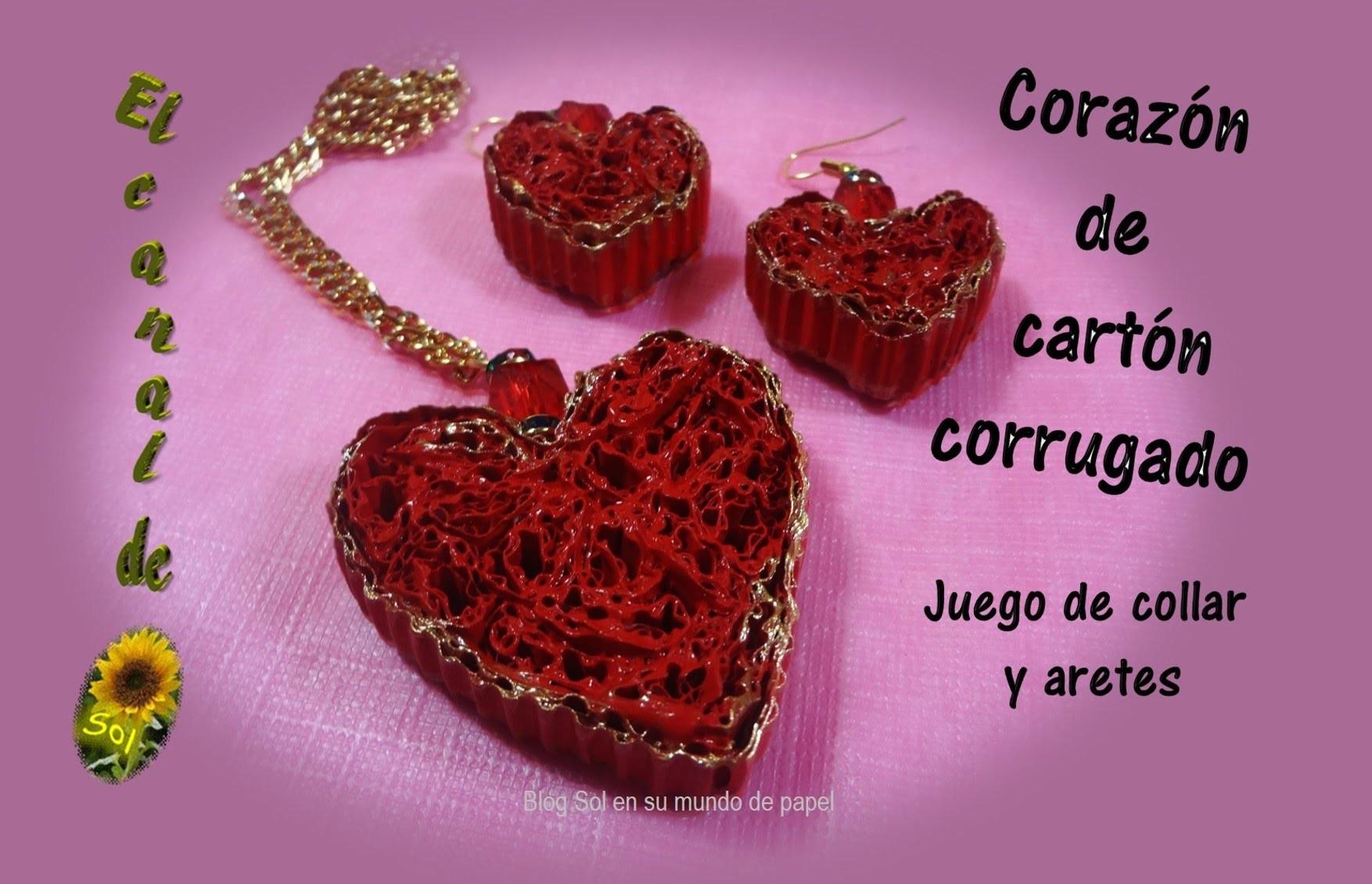 Corazón de cartón corrugado, juego de collar y aretes - Heart of corrugated cardboard,