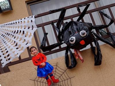 Haz una ARAÑA gigante TIERNA con su TELARAÑA. RECICLAJE Halloween.