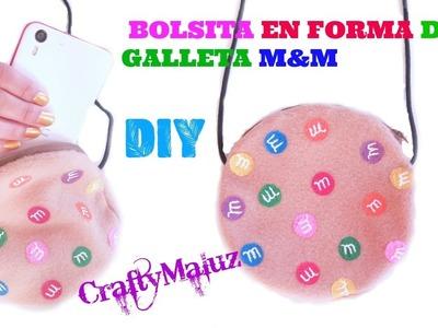 HAZ UNA BOLSITA EN FORMA DE GALLETA m&m | Bolsito de fieltro