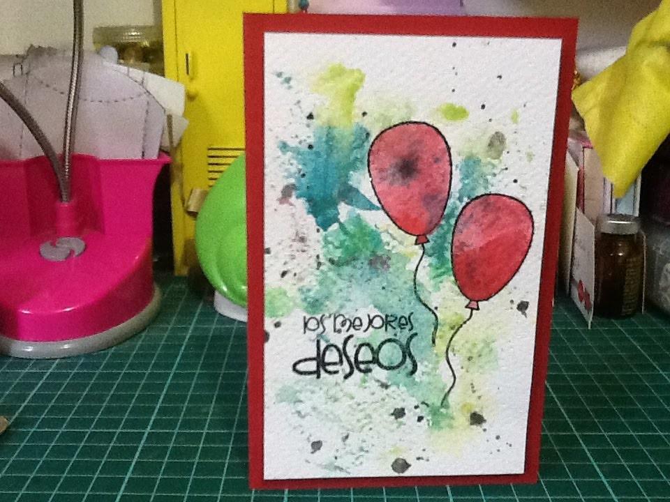Tarjeta de globos con acuarelas. tecnica facil.easy watercolor card DIY