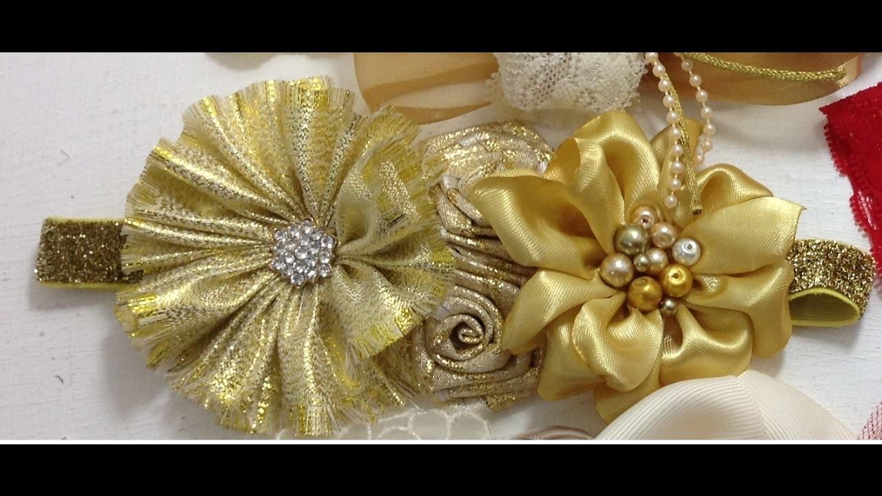 Tiara de flores  doradas VIDEO  No. 382