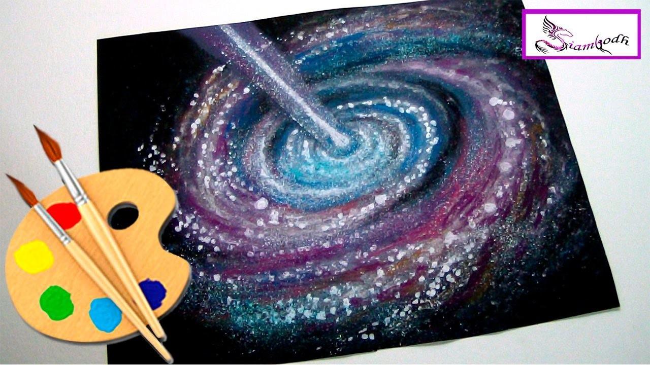 Como dibujar y pintar Una Galaxia y el Espacio con Polvo ...