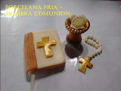 Como hacer un adorno de torta en porcelana fria---PRIMERA COMUNION
