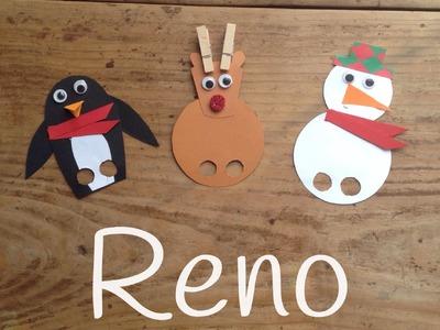Cómo hacer un RENO DE NAVIDAD |  Marionetas navideñas caseras para niños