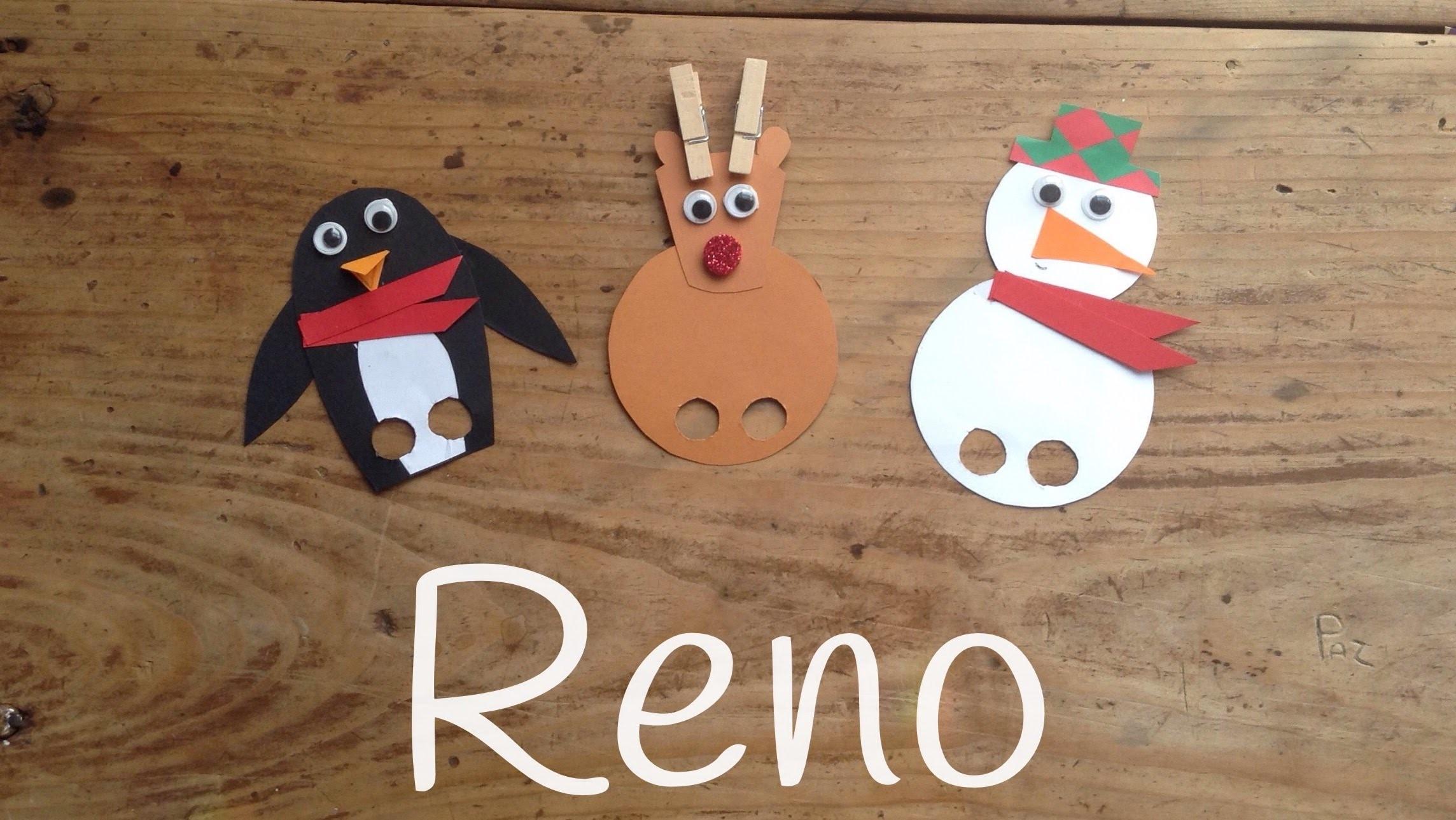 Cómo hacer un RENO DE NAVIDAD    Marionetas navideñas caseras para niños
