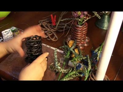 Floreros de módulos de papel