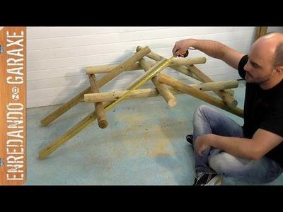 Plantear las medidas y seleccionar los postes para hacer el puente de Leonardo da Vinci
