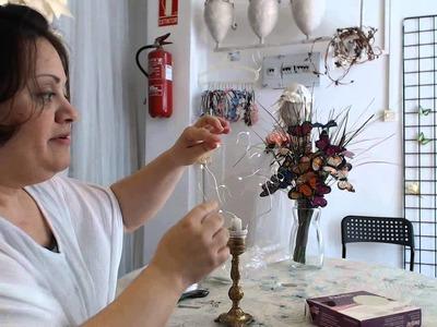 Proceso  1  para Hacer una Lampara de luciernagas y mariposas rosas Video 556