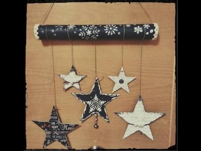 Adorno navideño reciclando cartón- estrellas colgantes
