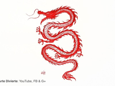 Cómo pintar un dragón Chino con pincel de bamboo
