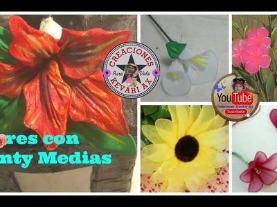 Flores con Panty Medias de Nylon o veladas.Flor de Nochebuena,Cala,rosa girasol.D.I.Y Nylon Flowers
