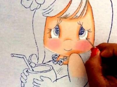 171.- Pintura en tela niña coco
