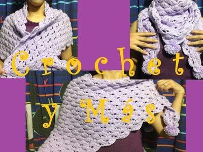 Chal en triangulo a Crochet. Puntada de abanicos