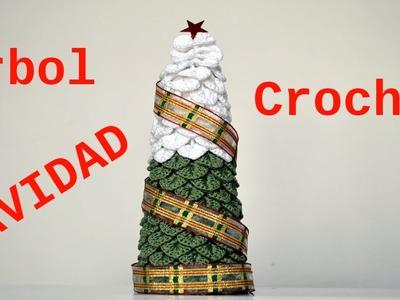 Como hacer un Arbol Navidad a crochet punto escama tutorial paso a paso
