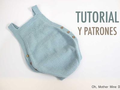 DIY Como hacer pelele de bebe tejido con dos agujas