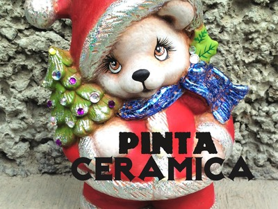 DIY oso navideño de cerámica foil pincel seco paint ceramic christmas