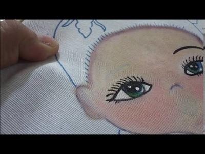 Pintura en tela ojos,pestañas, labios, rostro niña Orquidea marimur parte dos 695