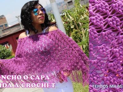 Poncho o Capa Tejido a Crochet en Punto Garbanzo o Punto Puff para señoritas y señoras paso a paso