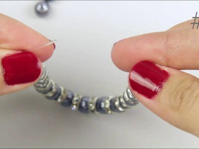 Pulsera y Aretes de Perla Cristal