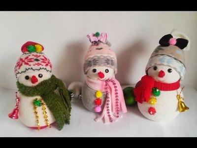 35 DIY Snowman   muñeco de nieve de calcetin. Снеговик за 5 минут из носка.