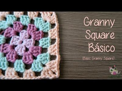 Cómo hacer un Granny Square Básico (How to crochet basic granny square)