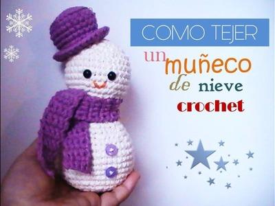 Como tejer un MUÑECO DE NIEVE a crochet (zurdo)