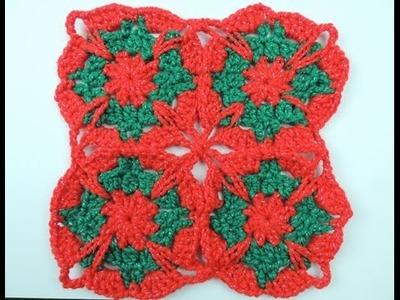 Crochet: Cuadrado # 18 en Dos Colores