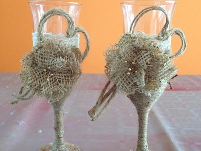 Decoración copas estilo vintage para bodas Vintage style cocktail decoration for weddings