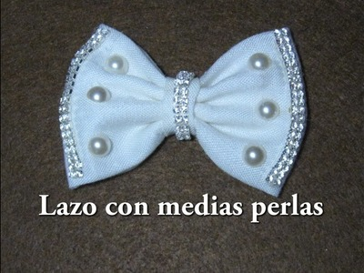 #DIY -Lazo con medias perlas y strass#DIY -Line with beads and rhinestones