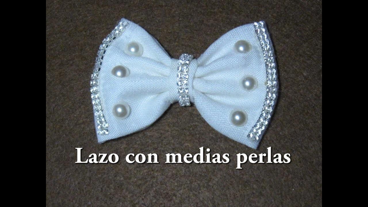 #DIY -Lazo con medias perlas y strass#DIY -Line with beads and rhinestones