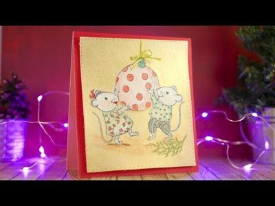 DIY Tarjeta de Navidad Coloreada con fondo metalizado. DN2016 Episodio 3