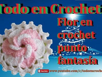 Flor en crochet punto fantasía