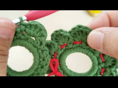 Mini Corona Navidad a Crochet