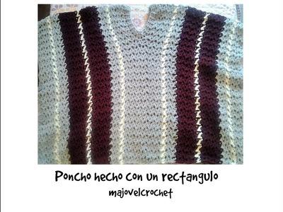 Poncho a crochet hecho  con un rectángulo #muy fácil