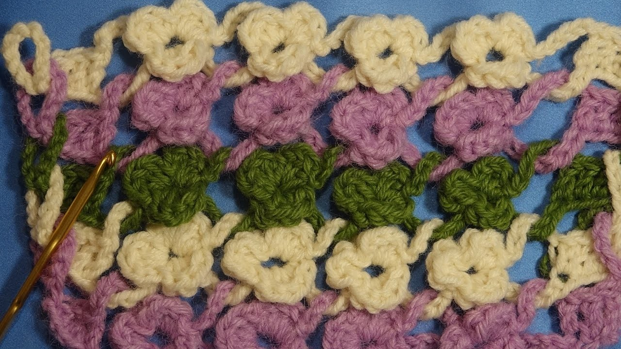 Punto  flores.crochet flower stich.