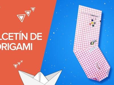 Calcetín de Navidad de papel | Manualidades de origami
