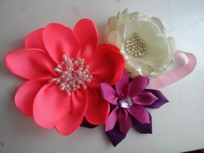Como hacer Tiara.valerina.diadema.vincha.aprende hacer 2 tipos diferentes de flores en liston