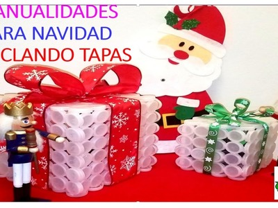 MANUALIDADES PARA NAVIDAD CON TAPAS PLÁSTICAS. DECORATION  FOR CHRISTMAS WITH PLASTIC BOTTLE CAPS