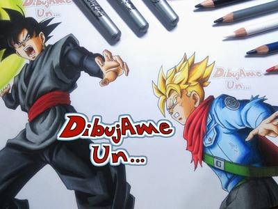 Como Dibujar a BLACK.GOKU BLACK vs TRUNKS del Futuro. How to Draw BLACK GOKU vs TRUNKS