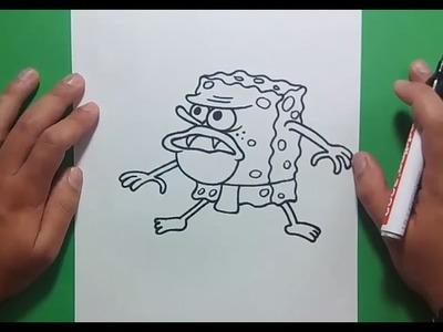 Como dibujar a Bob Esponja Cavernicola paso a paso - Bob esponja | How to draw Sponge bob Caveman