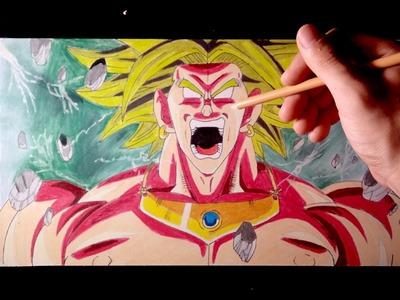 Cómo dibujar a Broly el Super Saiyan Legendario con Lápices de colores | Tutorial paso a paso