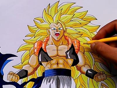 Cómo dibujar a Gogeta SSJ 3 (Con Lapices de Colores) ¡¡ Especial 2000 Subs - Tienda Virtual !!