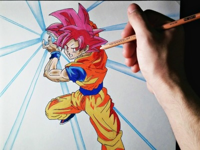 Cómo dibujar a Goku modo Dios | ArteMaster | How to draw Goku God Mode | Dragon Ball