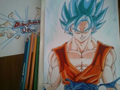 """Como dibujar a Goku SSJ """"dios"""" Azul paso a paso, How to draw Goku SS """"God"""" blue step by step"""