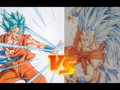 Como Dibujar a GOKU Super saiyan Blue DIBUJAME UN vs TOLG ART. how to draw Goku Sssj Blue